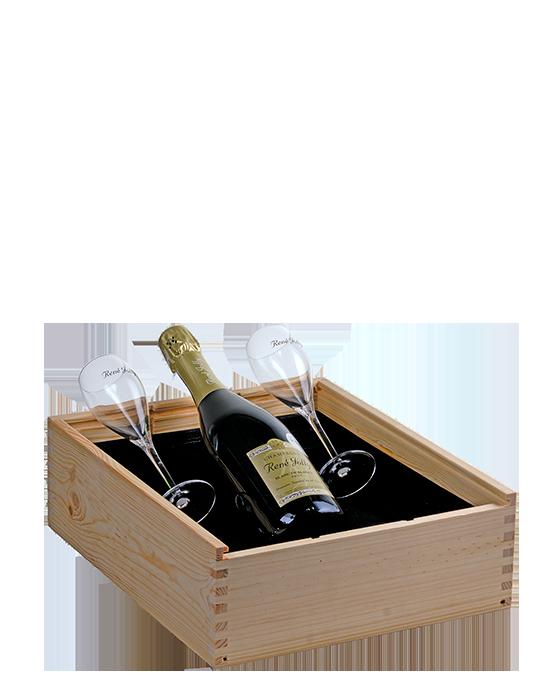 Luxe houten kist 2 glazen en 1 fles Champagne - jeromeschampagne.nl