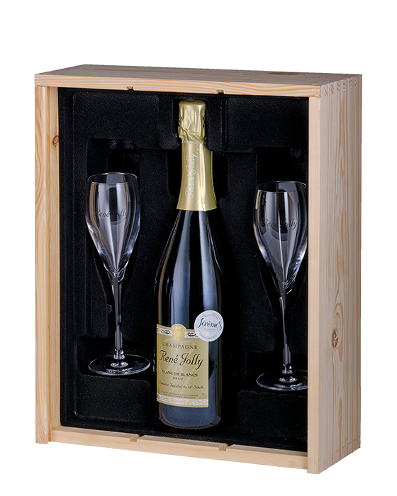 Champagne geschenk 1 fles 2 glazen in houten kist - jeromeschampagne.nl